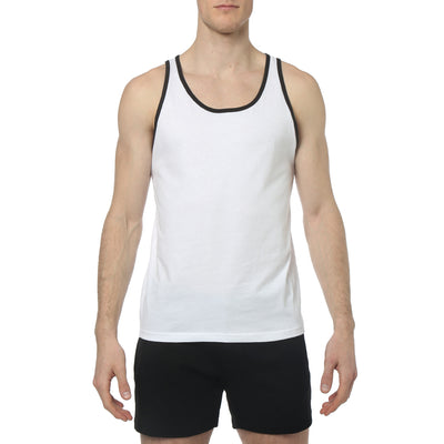 White/Black Contrast Color Piping Jersey Tank Top - parke & ronen