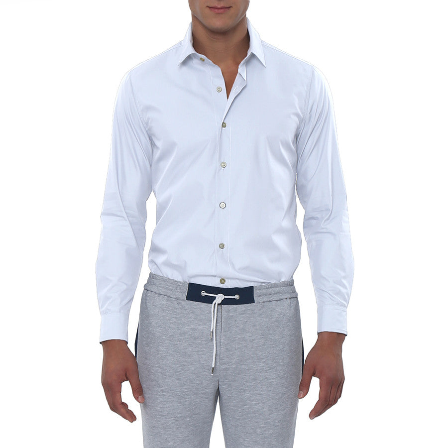 [parke & ronen] Solid Long Sleeve Slim Fit Lowell Casual Shirt - white