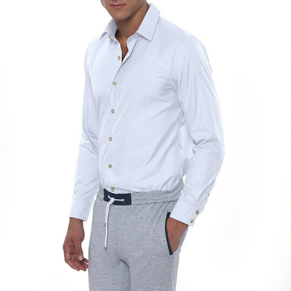 Solid Stretch Poplin Long Sleeve Shirt