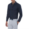[parke & ronen] Solid Long Sleeve Slim Fit Lowell Casual Shirt - Navy (Thumbnail)