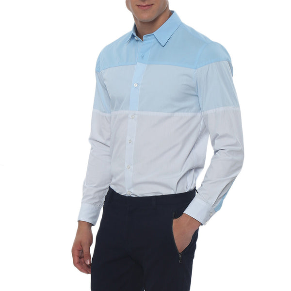 Colorblock Slim Fit Long Sleeve Casual Shirt