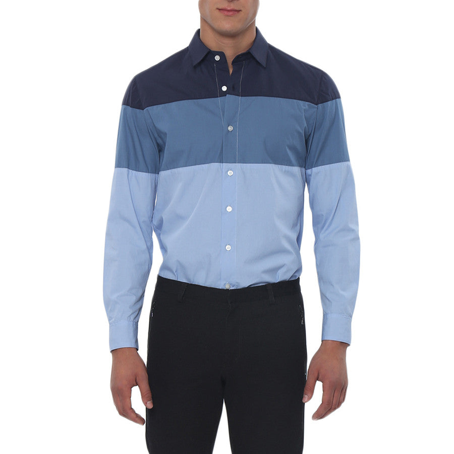 [parke & ronen] Colorblock Slim Fit Long Sleeve Casual Shirt - indigo