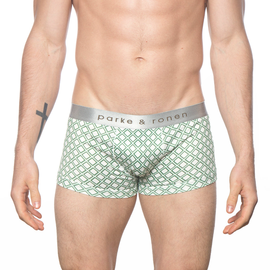 [parke & ronen] NEW ARRIVAL - Diamonds White Army Printed Low Rise Trunk - Diamonds White Army
