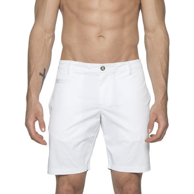 White Solid Stretch Madrid Shorts - parke & ronen