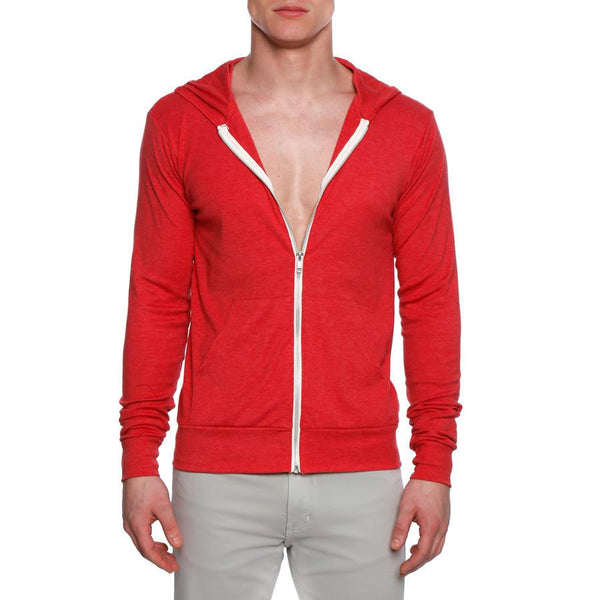 Red Solid Triblend Full-zip Lightweight Hoodie