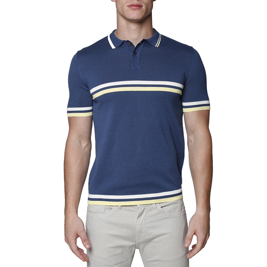 [parke & ronen] Contrast Striped Jet Age Knit Polo - cadet blue