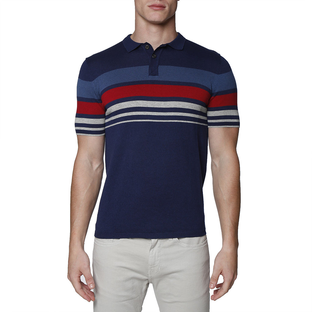 [parke & ronen] Contrast Striped Pipeline Knit Polo - navy