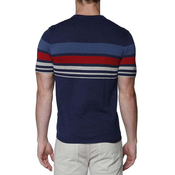 Contrast Striped Pipeline Knit Polo