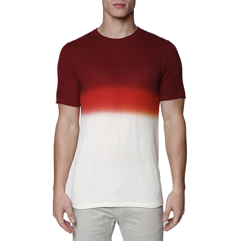 [parke & ronen] Dip Dye Short Sleeve Waffle Knit Thermal - maroon
