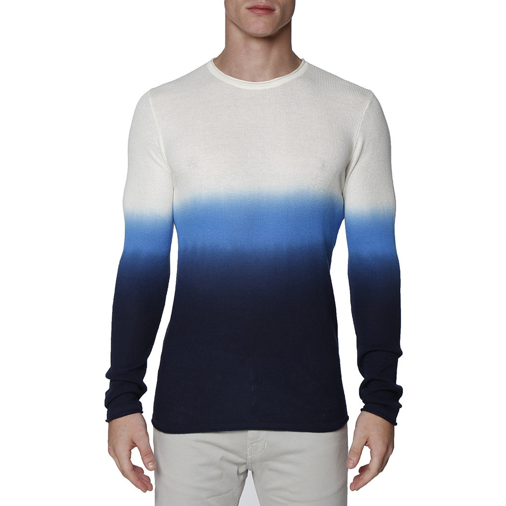 [parke & ronen] Dip Dye Long Sleeve Waffle Knit Thermal - blue