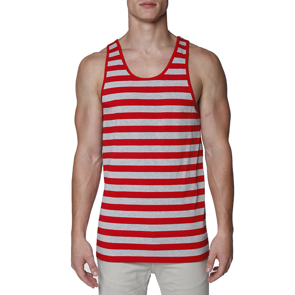 [parke & ronen] Contrast Striped Tank Top - red/grey stripe