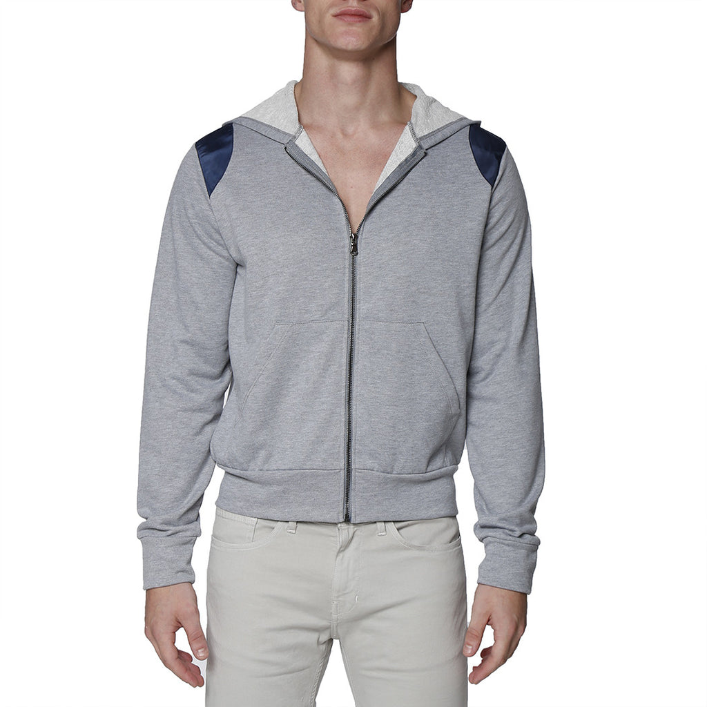 [parke & ronen] Solid French Terry Cloth Hoodie - heather grey