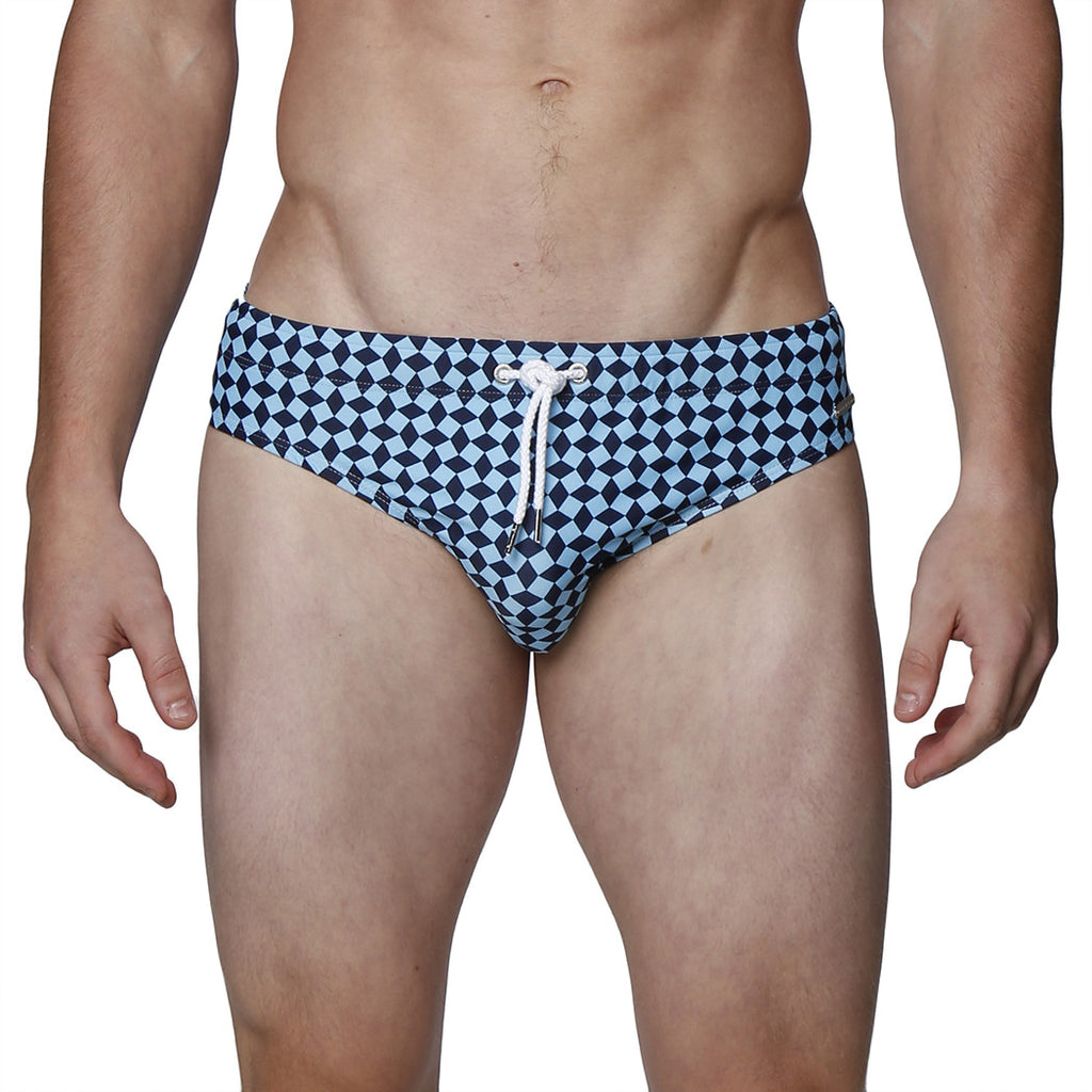 [parke & ronen] Diamond Print Meridian Bikini Brief - blue diamond