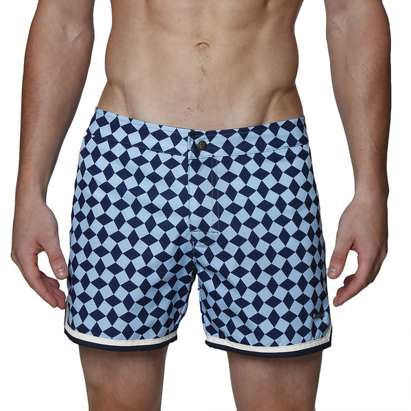 "4"" Diamond Print Mykonos Stretch Swim Trunk"