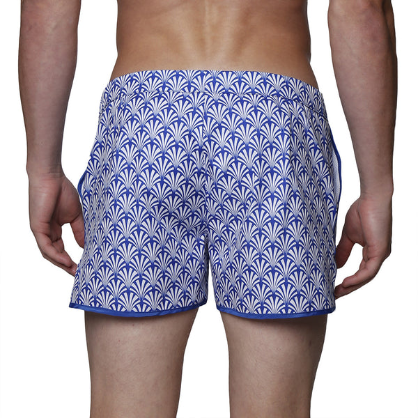 "2"" Swim Fan Print Stretch Angeleno Swim Trunk"
