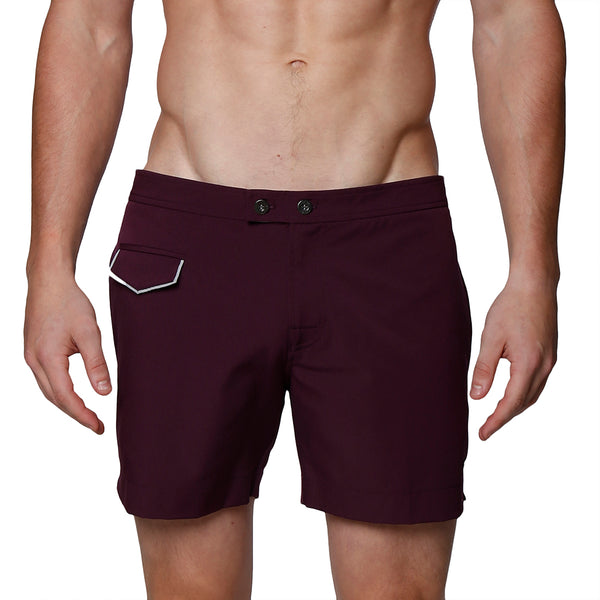 "5"" Dark Lido Solid Stretch Tailored Swim Trunk"