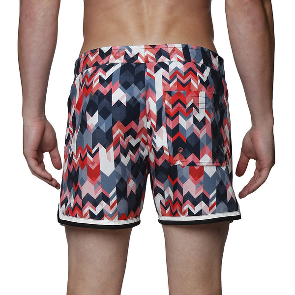 "4"" Miter Print Mykonos Stretch Swim Trunk"