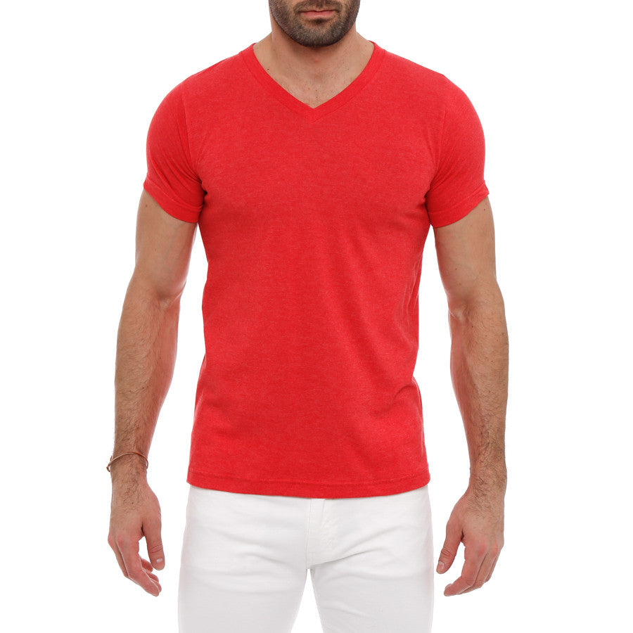 [parke & ronen] Solid Heather V-Neck Tee - red