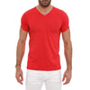 [parke & ronen] Solid Heather V-Neck Tee - red (Thumbnail)