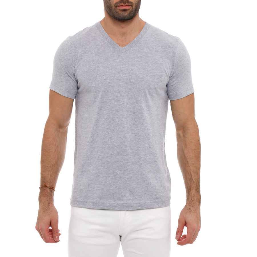 [parke & ronen] Solid Heather V-Neck Tee - grey