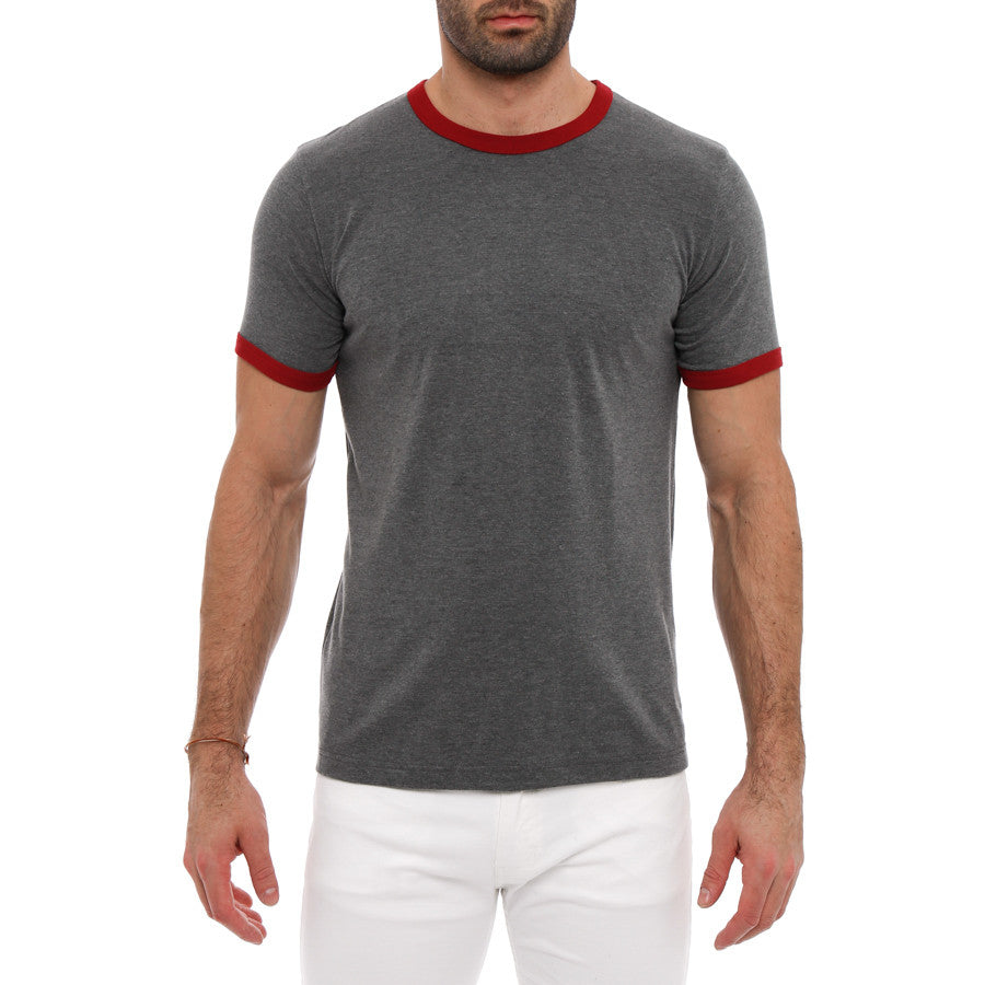 [parke & ronen] Contrast Jersey Ringer Tee - red/charcoal