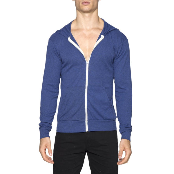 Blue Solid Triblend Full-zip Lightweight Hoodie