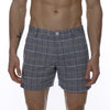 [parke & ronen] Glen Plaid Vintage Holler Mid-Thigh Short - blue plaid (Thumbnail)