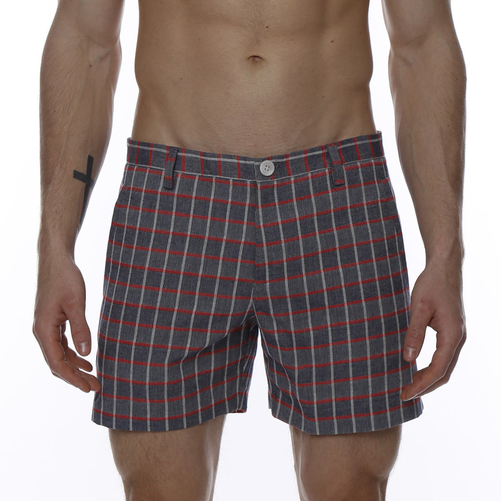 [parke & ronen] Glen Plaid Vintage Holler Mid-Thigh Short - navy plaid