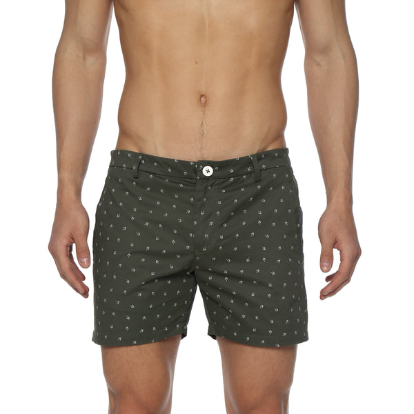 Fan Leaf Print Vintage Holler Mid-Thigh Short