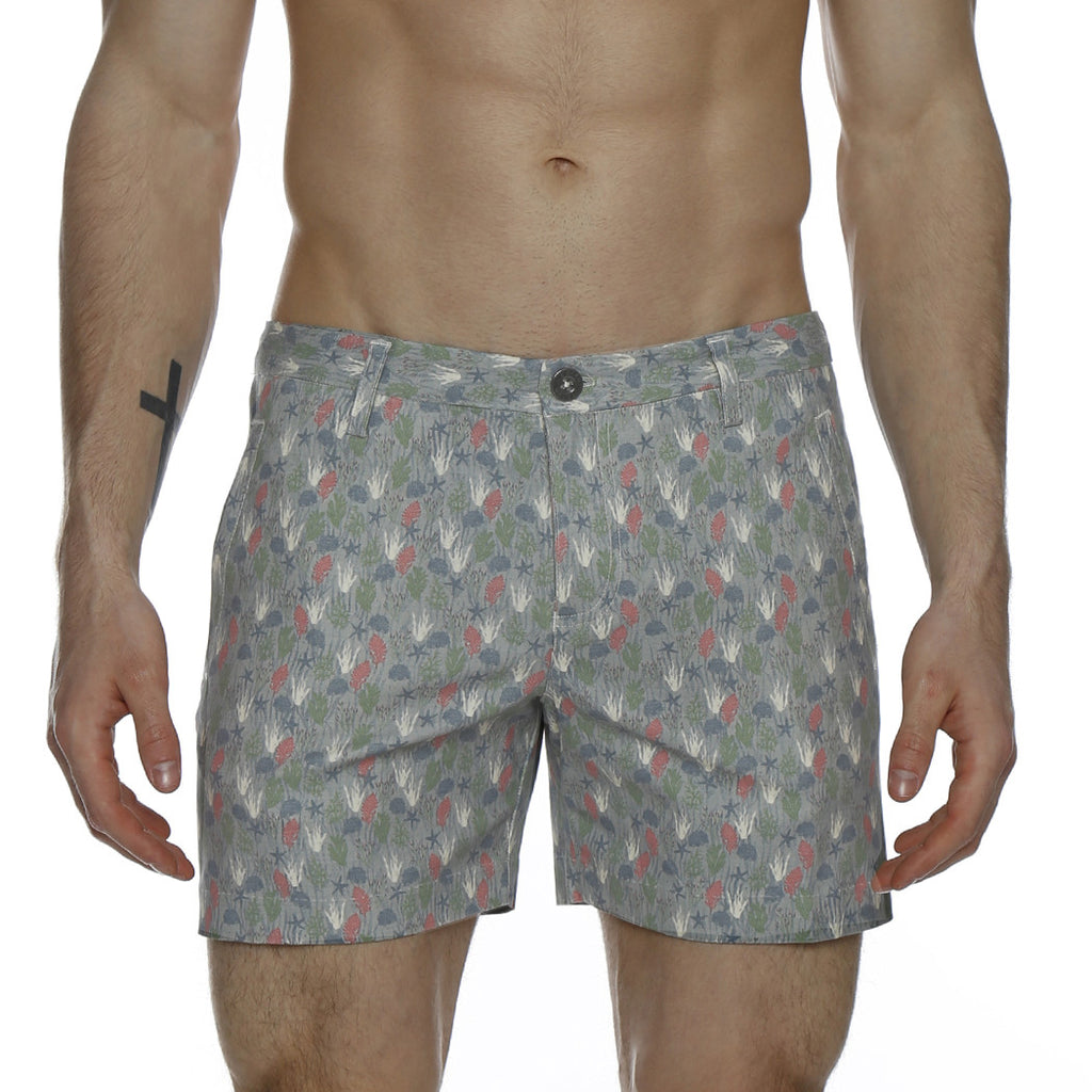 [parke & ronen] Under the Sea Print Vintage Holler Mid-Thigh Short - khaki under the sea