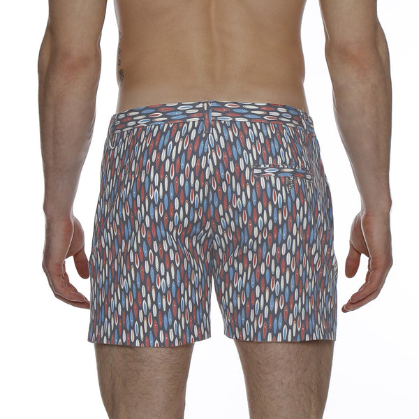 Surfboard Print Vintage Holler Mid-Thigh Short