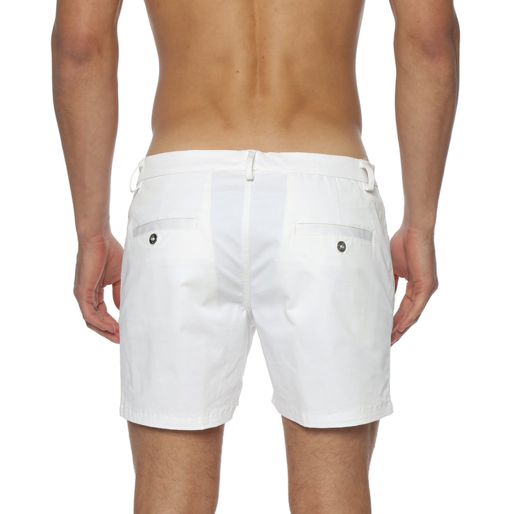 White Solid Stretch Holler Shorts - parke & ronen