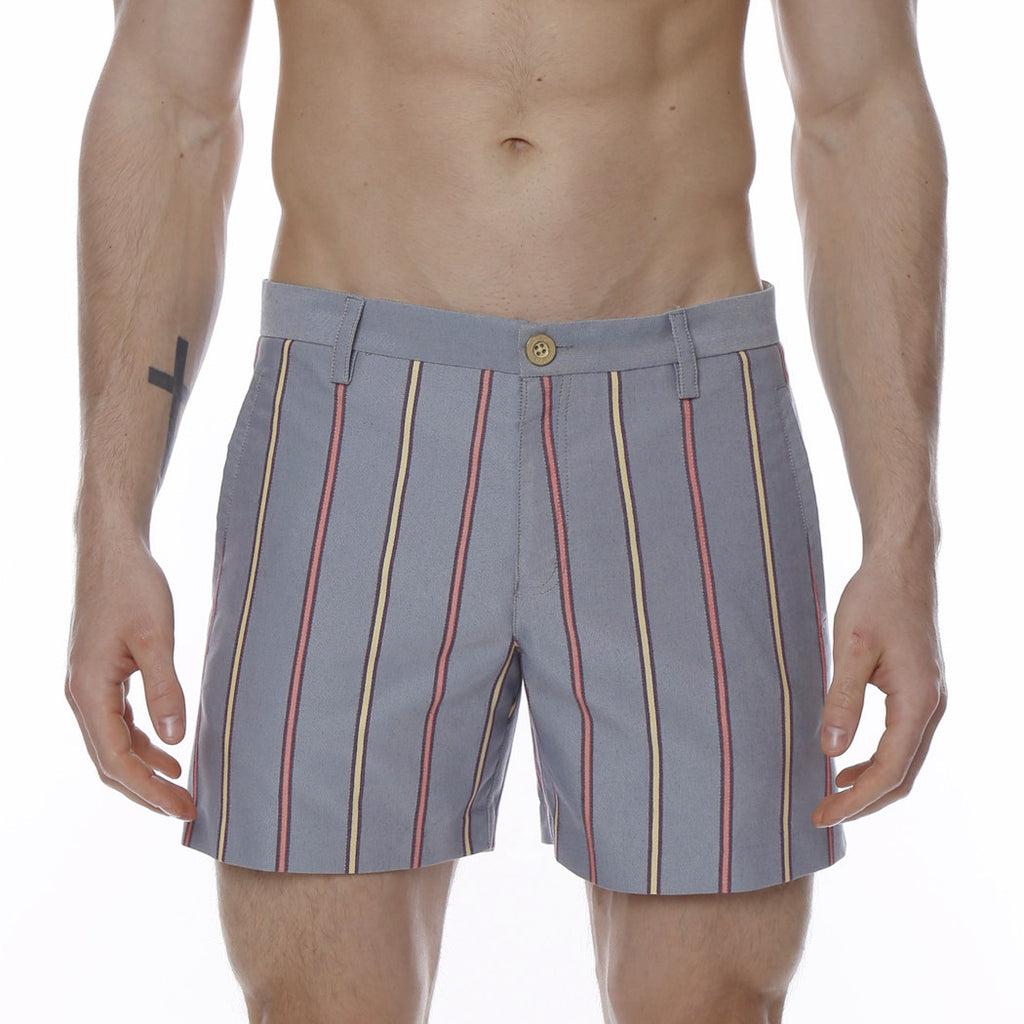 [parke & ronen] Derby Stripe Vintage Holler Mid-Thigh Short - blue derby stripe