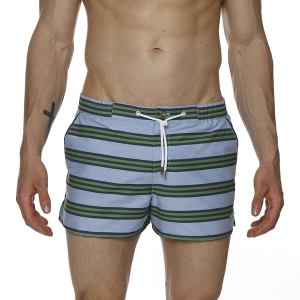 "2"" Striped Chambray Barcelona Retro Swim Trunk"
