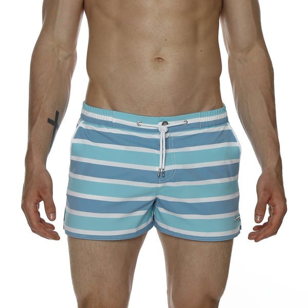 "2"" Paradise Stripe Barcelona Retro Swim Trunk"