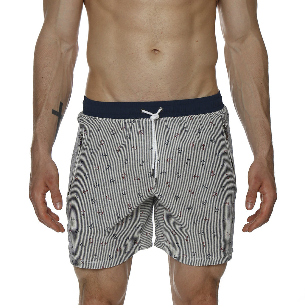[parke & ronen] Anchor Print Linen Vintage Mid-Thigh Loungeshort - blue anchor