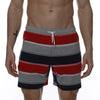 [parke & ronen] Striped Vintage Mid-Thigh Lounge Short - red stripe (Thumbnail)