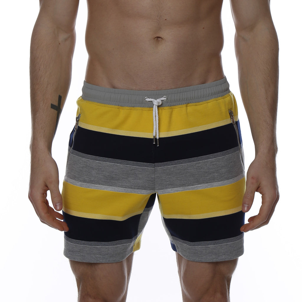 [parke & ronen] Striped Vintage Mid-Thigh Lounge Short - yellow stripe
