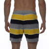 [parke & ronen] Striped Vintage Mid-Thigh Lounge Short - yellow stripe (Thumbnail)