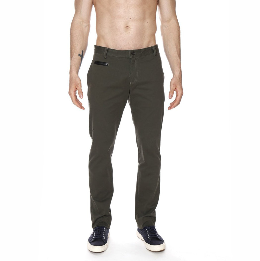 [parke & ronen] Solid Lido Trouser w/ Leather Besom - forest green