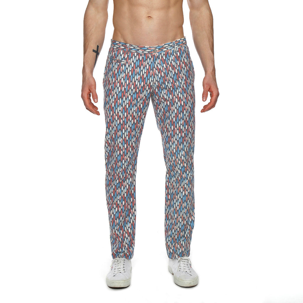 [parke & ronen] Surfboard Print Lido Stretch Trouser - surfboard navy