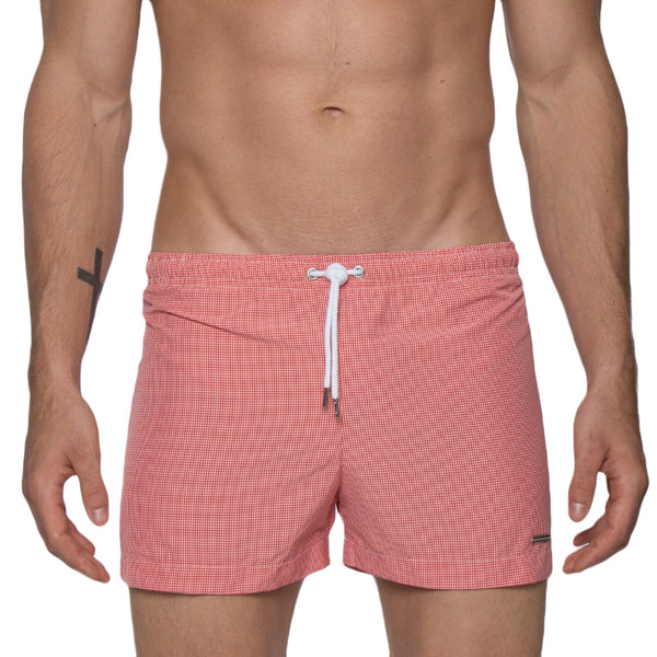 "NEW STYLE: 3"" Gingham Pop Retro Swim Trunk"