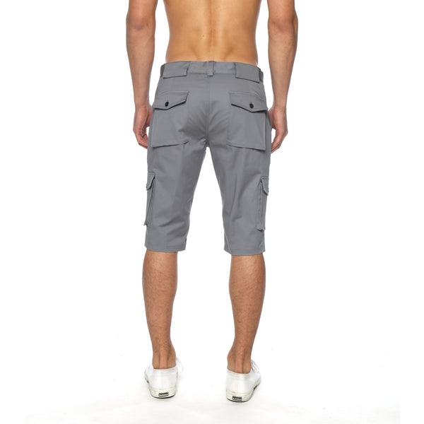 Solid Stretch Long Cargo Short