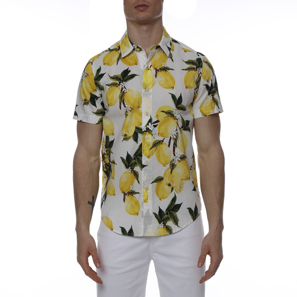 [parke & ronen] Lemon Printed Stretch Short Sleeve Shirt - lemon print