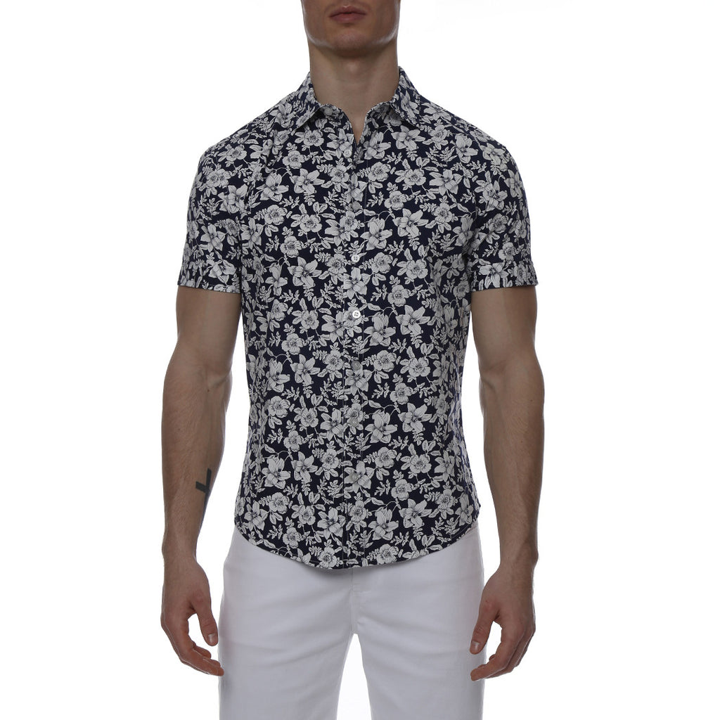 [parke & ronen] Navy Floral Print Stretch Short Sleeve Shirt - navy/white floral