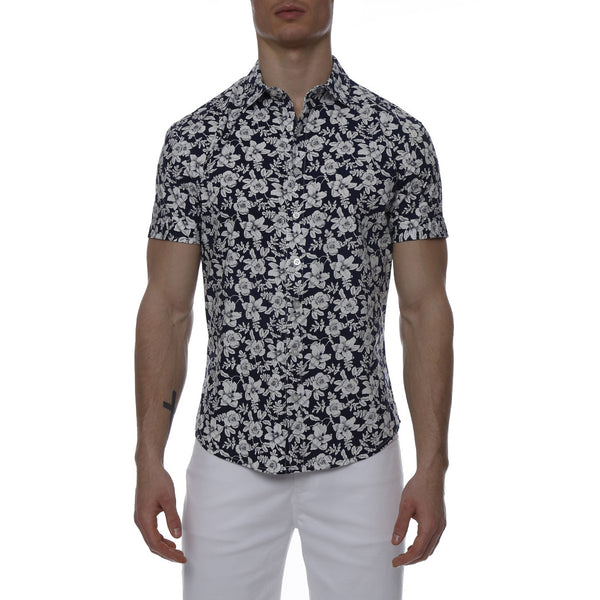 Navy Floral Print Stretch Short Sleeve Shirt