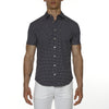 [parke & ronen] Paisley Drop Print Stretch Short Sleeve Shirt - navy paisley drop (Thumbnail)