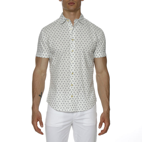 Anchor Print Stretch Short Sleeve Shirt