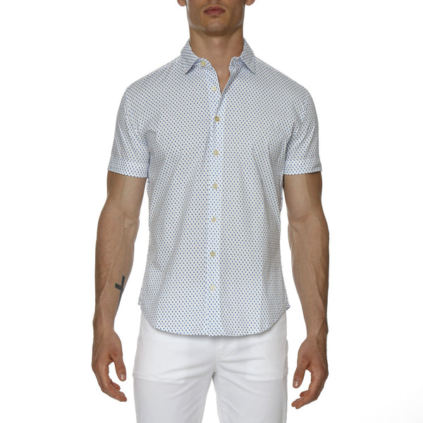 Paisley Drop Print Stretch Short Sleeve Shirt