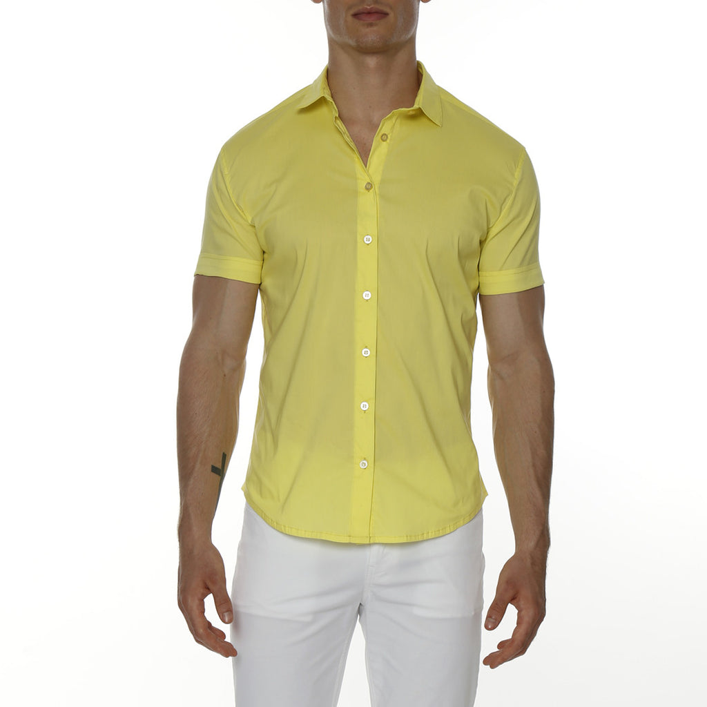 [parke & ronen] Solid Stretch Poplin Short Sleeve Shirt - yellow